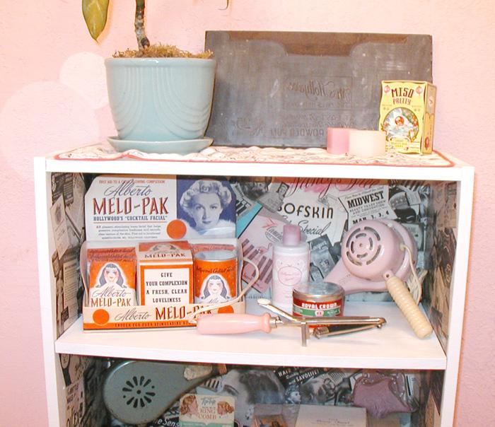 Retro salon decoupage shelf by erin tinney for 1950 s beauty salon