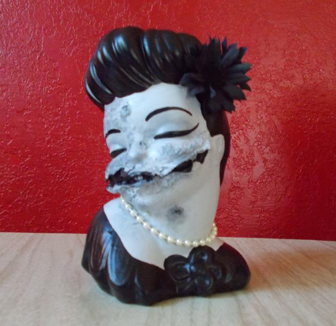 Black Dahlia Zombie HeadVase By Erin Tinney