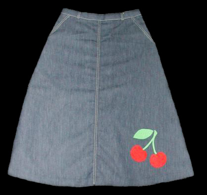 ReVamped Denim Cherry Skirt