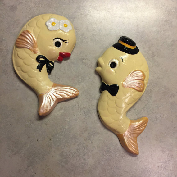 Fish Wall Hangings in Gold