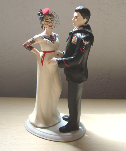 Custom tattooed and expecting Navy wedding cake topper