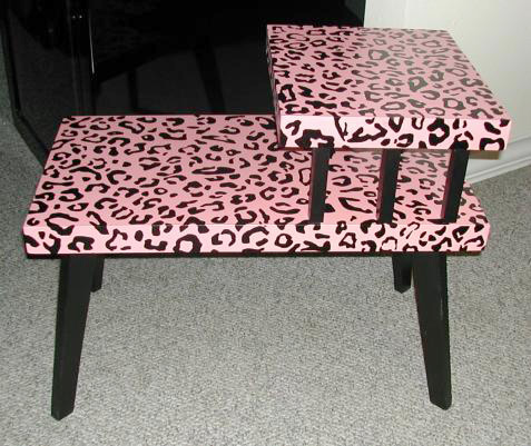 Pink & Black Leopard Print Table