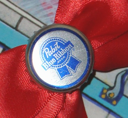 Pabst Beer Bottlecap Bow Hair Clips